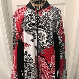 Susan Graver bandanna print sweatshirt jacket.